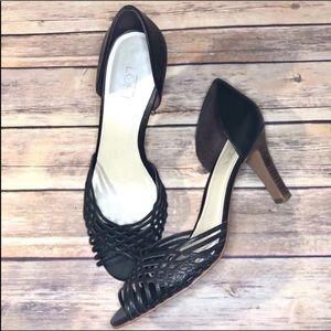 LOFT woven strap dark brown caged heels size 9